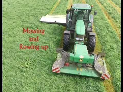 Mowing and Rowing up at Wellheads Farm Silage2017 (Drone footage)