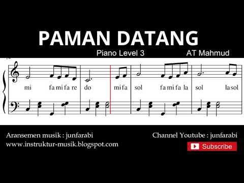 Notbalok Pamanku Datang - Tutorial Piano Tingkat 3 - Not Lagu Anak Indonesia - Instrument