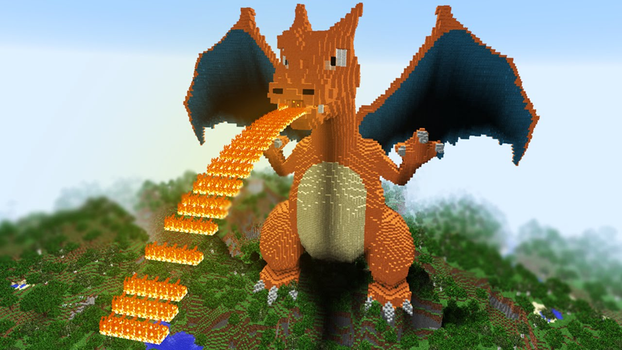 Minecraft Vs Pokemon Go Giga Charizard Vs Rezende Youtube