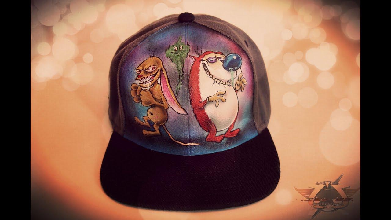 d64acbf4470e4 REN AND STIMPY custom hat. - YouTube