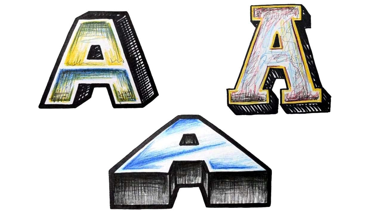 How to Draw 3D Block Letters 3 Different Ways A