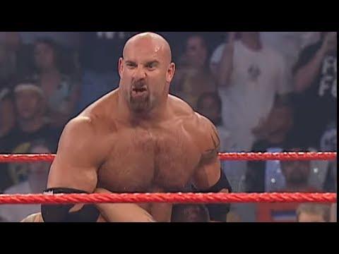Goldberg hits Randy Orton with the Jackhammer: Raw, Sept. 1, 2003