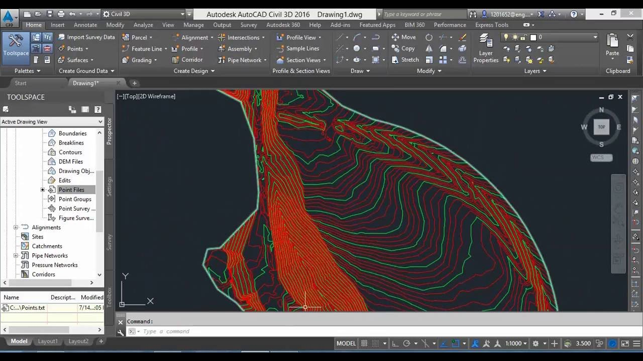 Contour Line Drawing Autocad : Edit contour lines surface youtube