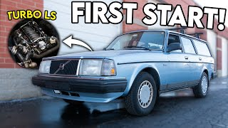 The BIG TURBO LS6 Swapped Volvo Wagon RUNS! (First Start)