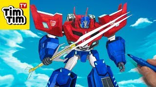 How to draw Optimus Prime . Robots in Disguise Combiner Force Transformers | Art for Kids