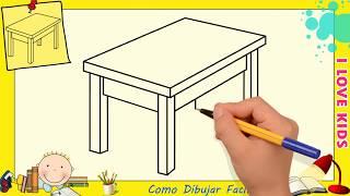 Como dibujar una mesa FACIL paso a paso para niños y principiantes 1