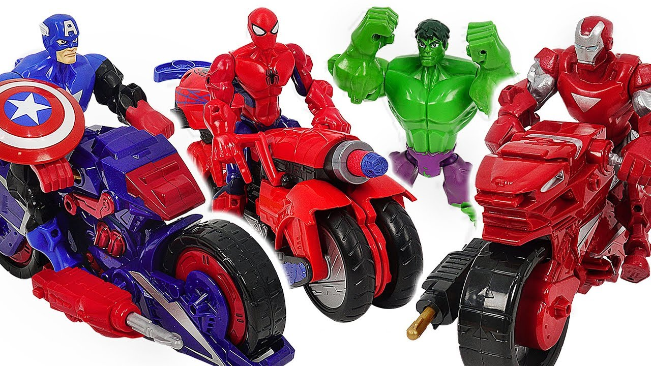 Download Marvel Avnegers Mashers Iron Man, Spider-Man transforming motocycle with Hulk! Go! #DuDuPopTOY