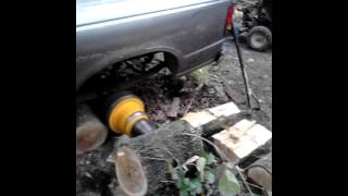 Splitting Firewood With A Mazda Truck