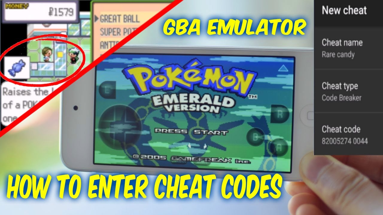 pokemon emerald cheats gba emulator