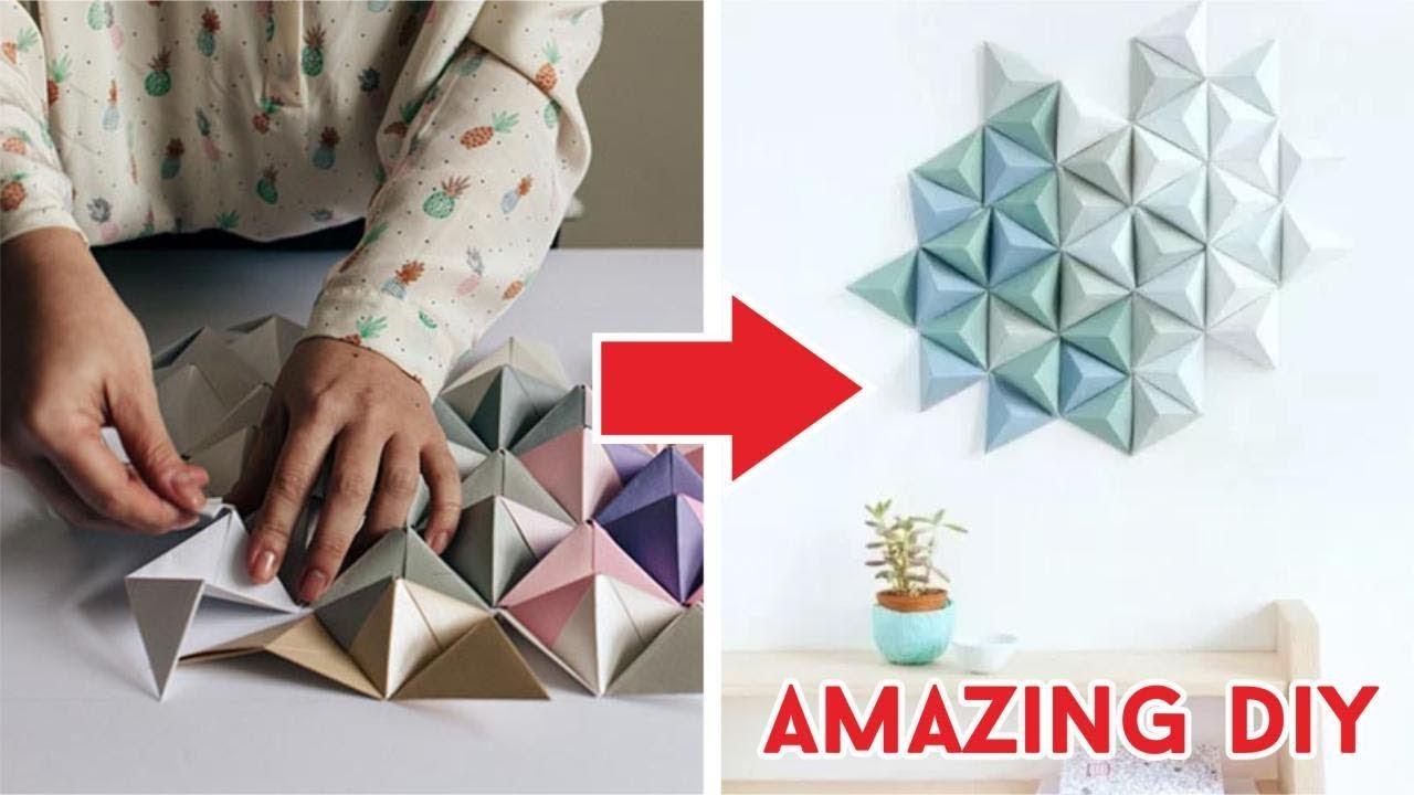 Cara Membuat Hiasan Dinding Dari Origami Segitiga How To Fold Triangle Diy Tutorial Wow