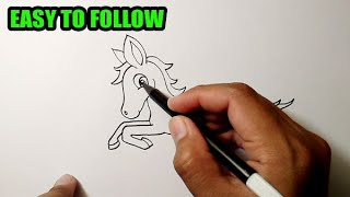 How to draw a horse running easy | CUTE VERSION
