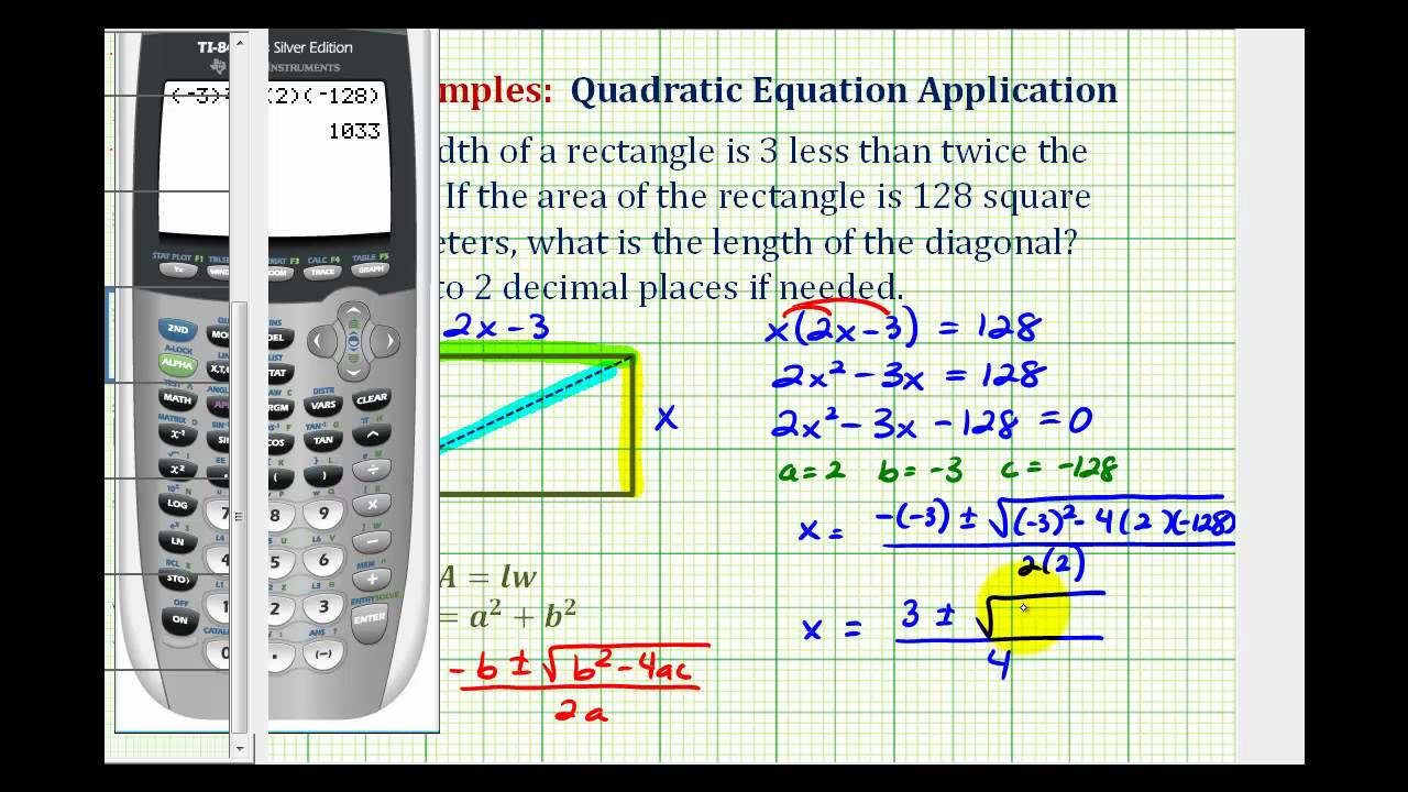 Ex: Find The Length Of The Diagonal Of A Rectangle Given The Area