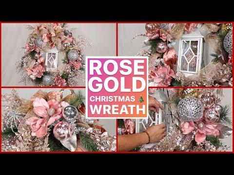 GLAM CHRISTMAS WREATH TUTORIAL / Rose Gold Christmas Home Decor Ideas