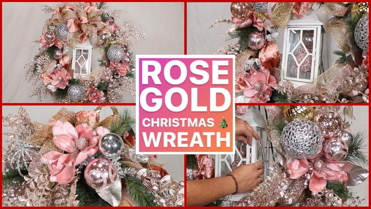 Glam Christmas Wreath Tutorial Rose Gold Christmas Home Decor Ideas Youtube