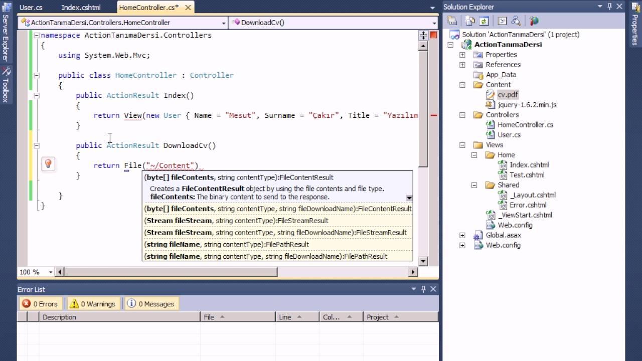 38 - ASP NET MVC Result Tipleri File Result