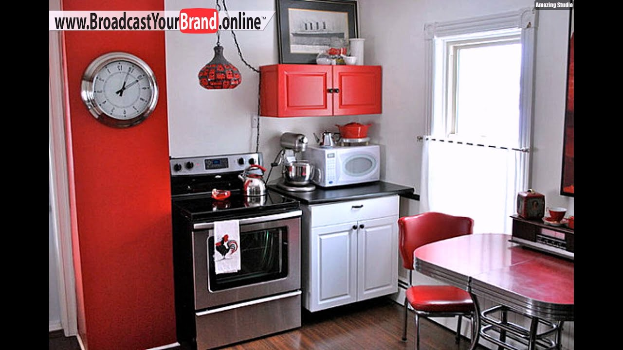 kleine k che einrichten moderne m bel rot ausstattungen youtube. Black Bedroom Furniture Sets. Home Design Ideas