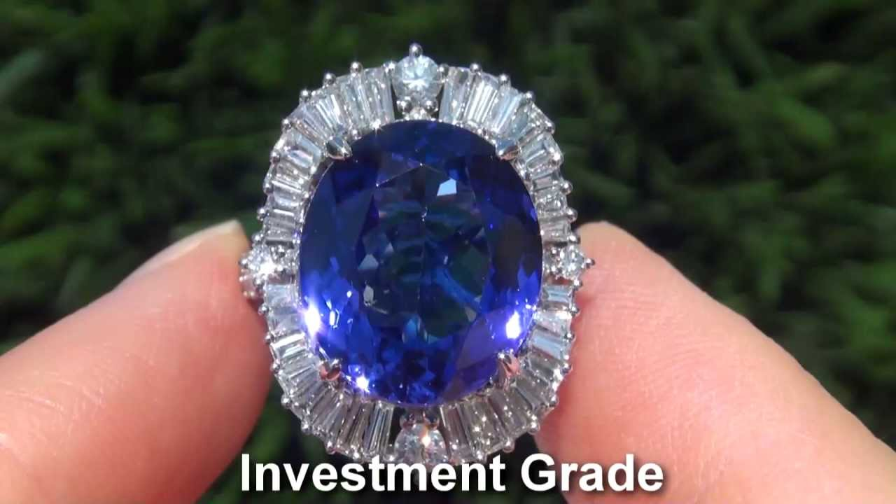 and platinum diamond dark ring certified tanzanite gia i