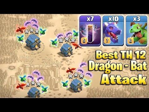 TH12 Best Dragon 3star War Attack! 10 Dragon 3 Baby Dragon 7 Bat Spell Attack Strategy 2019