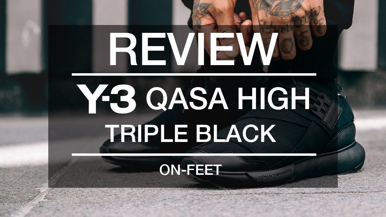 e044dc7b7 Review  Y-3 QASA High Triple Black + On-Feet - YouTube