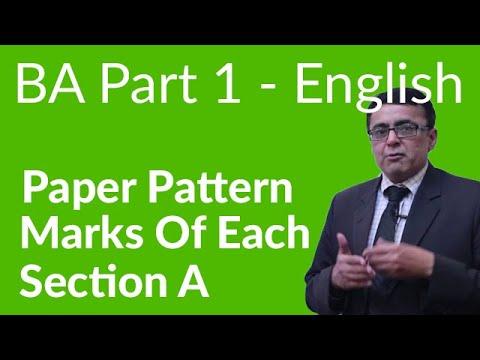 BA English Section A Part 1 - BA English Paper Pattern  - BA English Part 1 Punjab University