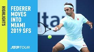 Highlights: Federer, Shapovalov Move Into Miami 2019 Semi-finals