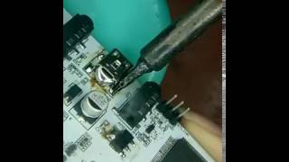 How to replace a mini USB or micro-USB by soldering iron without heat gun work for SMD ICs
