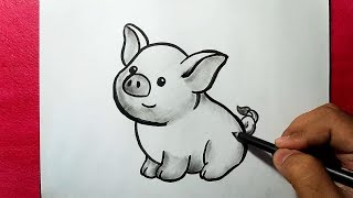 pig drawing sketch draw easy line drawings sketches together kit paintingvalley