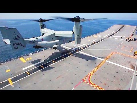 U.S. MV-22B Takeoff/Landing On Armada Española Ship Juan Carlos I