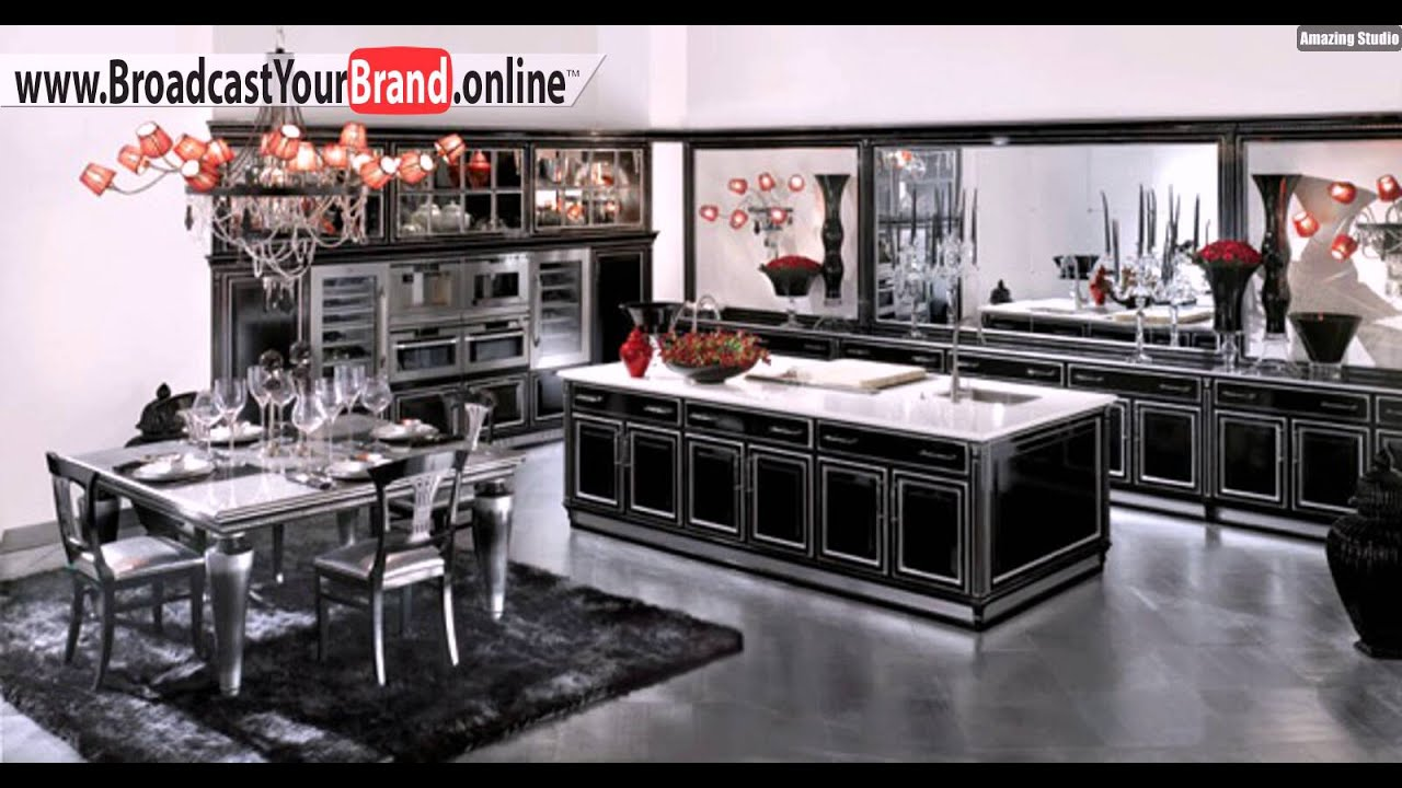 Schwarze Klassische Küche Roter Kronleuchter