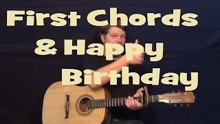 Easy Major Chords - G C D - Happy Birthday - Easy Beginner Guitar Lesson - Munson Summer