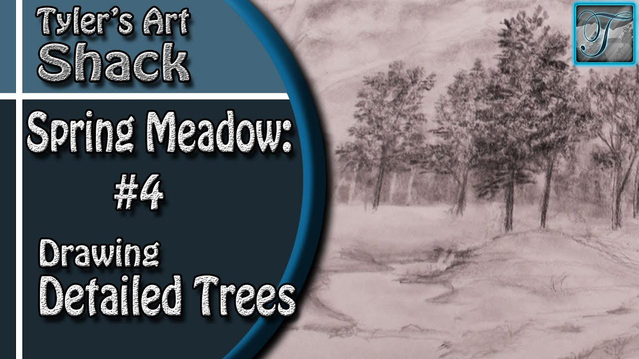 How to Draw a Spring Meadow Series Part 4 - How to Draw Detailed Trees