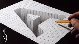 Drawing A Hole in Line Paper - 3D Trick Art thumbnail