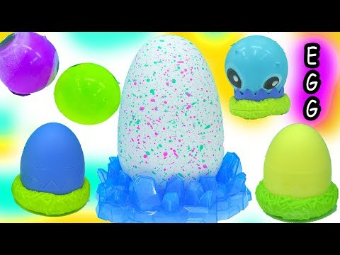 Hatching Egg Hatchimals + Super Squishy Hatchem Blind Bag Baby Dinosaurs - Toy Video