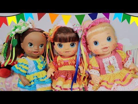 ARRRUME-SE COM MALU, DUDA E IVE PARA A FESTA JUNINA | BABY ALIVES - Lilly Doll