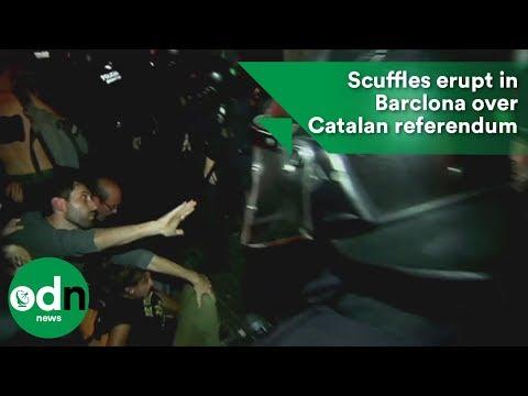 Scuffles erupt in Barclona over Catalan referendum