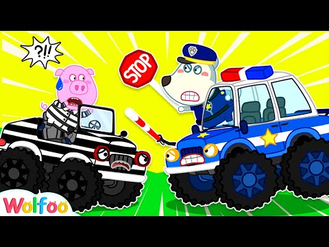 Wolfoo Police Cartoon - Talking Police Car Confront Bad Monster Truck   Wolfoo Channel