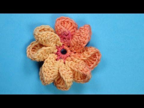 Видео урок: Цветок спицами Урок 2 Вязание