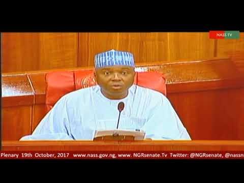 Saraki reads a letter from President  Muhammadu Buhari