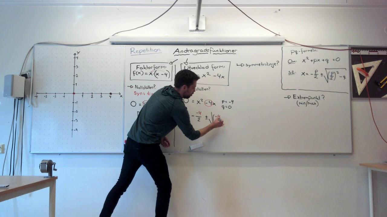 Matematik 2b, 2.2. Sammanfattning: ANDRAGRADSFUNKTIONER