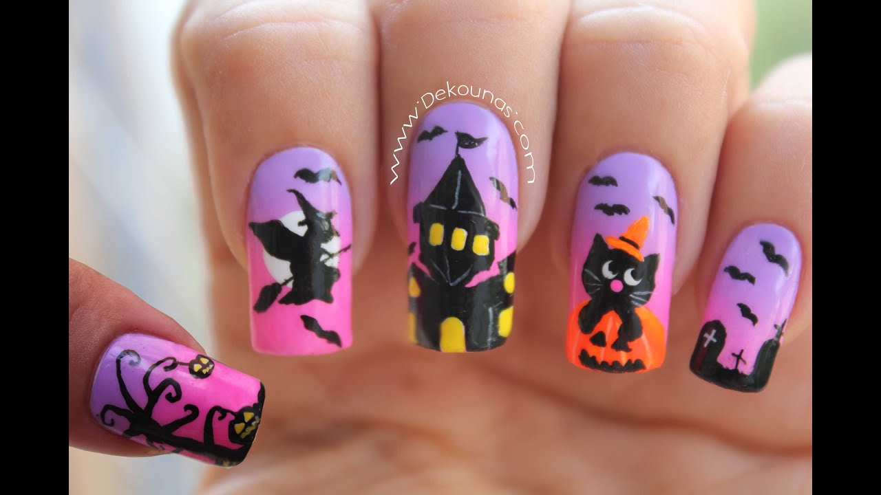 Decoraci n de u as halloween halloween nail art youtube for Decoracion de halloween
