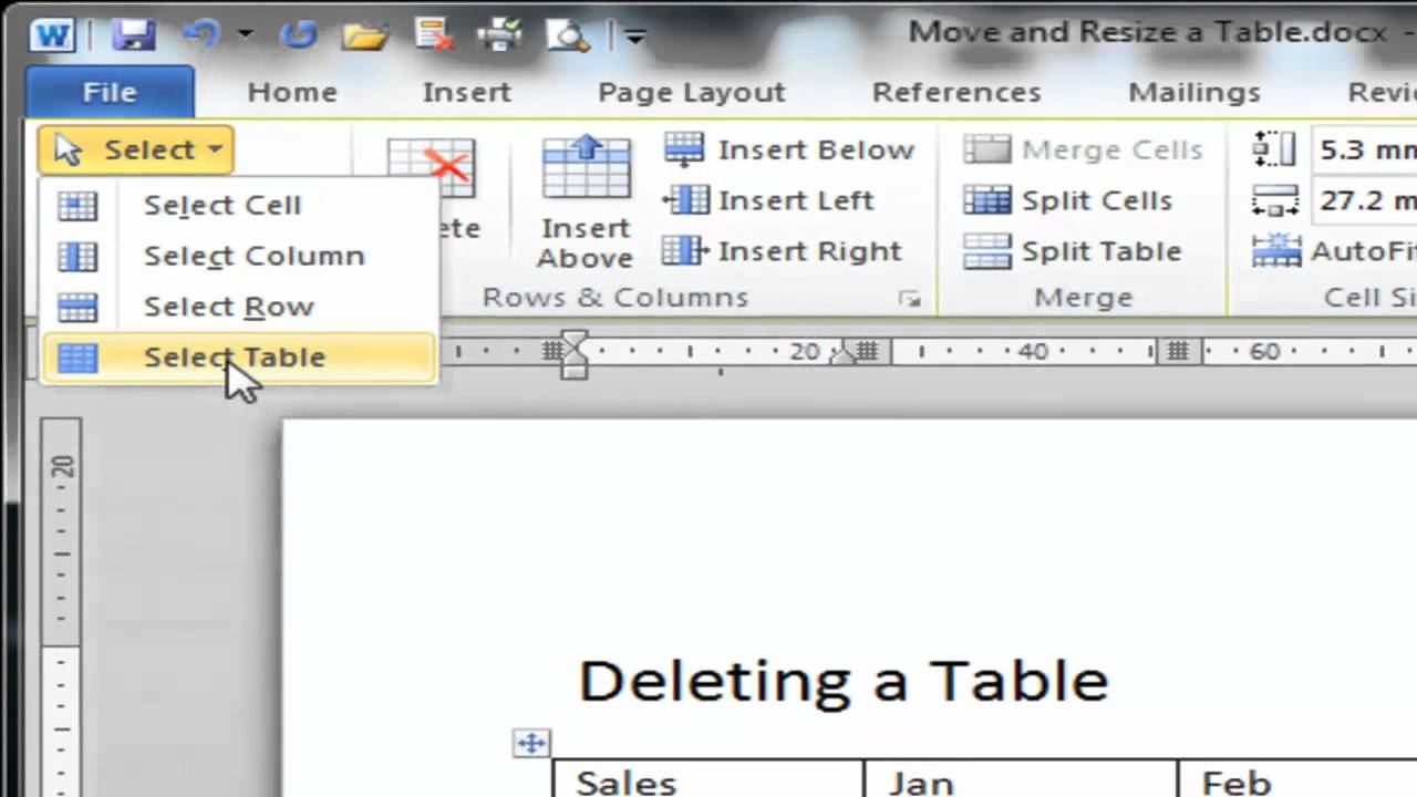 Ms Word 2010: Deleting A Table How To Delete A Service In