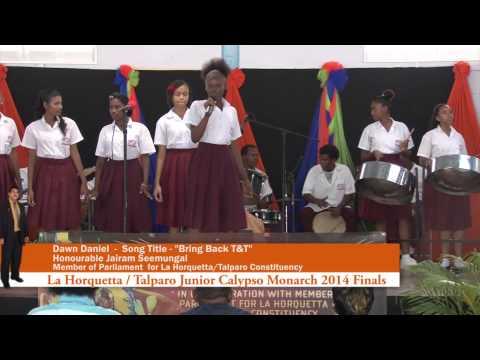 Dawn Daniel singing Bring Back T&T at the Finals of the LaHorquetta / Talparo Junior Calypso 2014