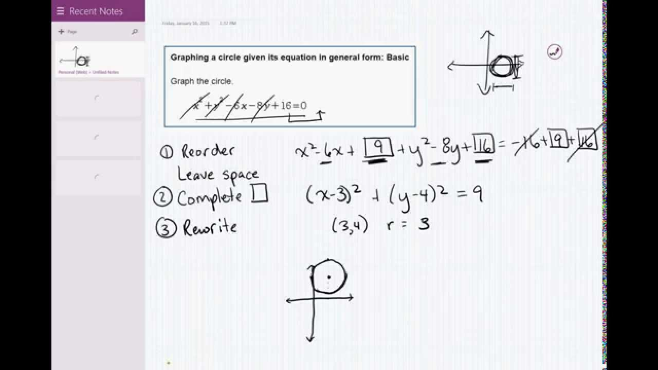 05 09 Graphing a circle given its equation in general form: Basic ...