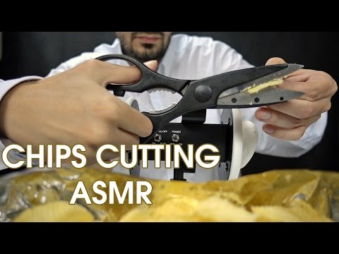 ASMR Cutting Chips with Scissors