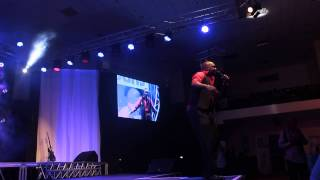 Patrick Idringi AKA Salvador Performing for the crowds during the Africa Laughs Show
