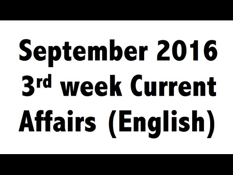 (English) September 2016 3rd Week Best current affairs MCQ GK