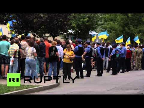 "Ukraine: Kiev protesters chant ""Yankees go home"" outside US embassy"