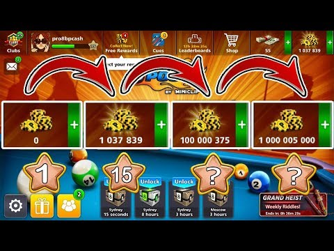8 Ball Pool Road To 1 Billion Coins Free 👍 Of 0 To 1M Coins