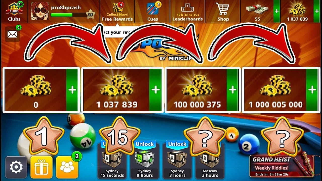 8 Ball Pool Road To 1 Billion Coins Free 👍 Of 0 To 1m