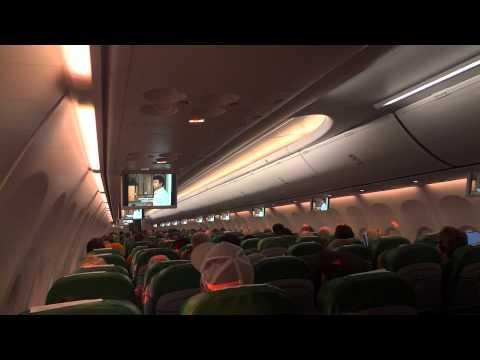 In Flight Transavia Boeing 737-8K2 (good sunset & sky interior view)